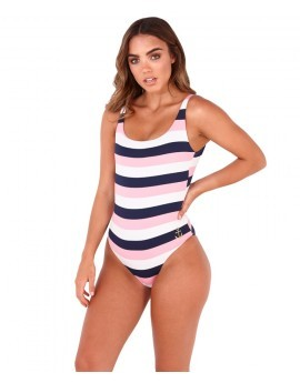 Boutique Multi Coloured Striped Low Back Swimsuit