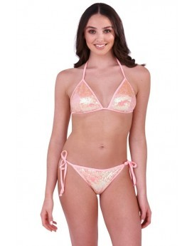 Boutique Pink Sequinned Triangle Bikini Set
