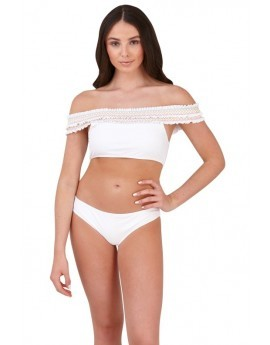 Boutique White Bardot Bikini Set