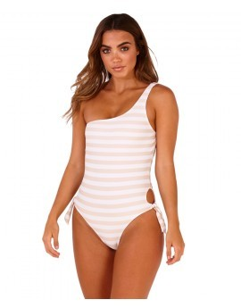 Boutique Taupe & White One Shoulder Striped High Leg Swimsuit