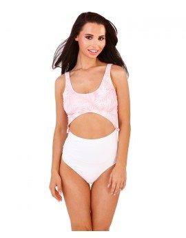 Boutique White & Pink Palm Leaf Cut Out Swimsuit