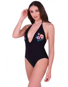 Boutique Black Neon Floral Embroidered Swimsuit