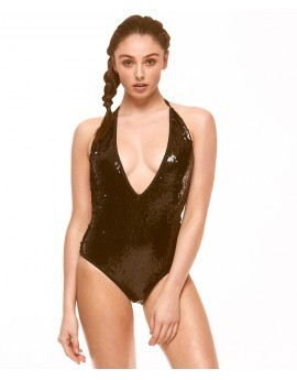 Boutique Black Sequinned Plunge Swimsuit
