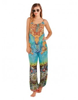 Aqua Printed Embellished Jumpsuit