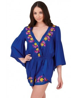 Blue Floral Embroidered Playsuit
