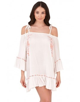 Boutique White Bardot Embroidered Beach Dress