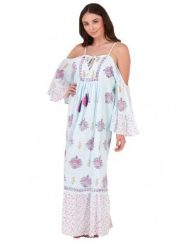 Boutique Blue Bardot Maxi Beach Dress
