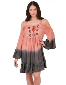 Boutique Pink Dip Dye Bardot Beach Dress
