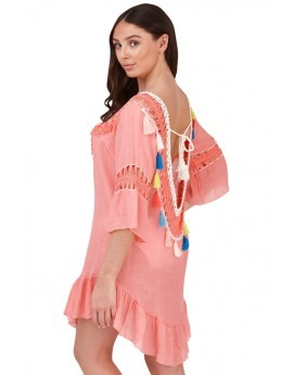 Boutique Peach Crochet Tassel Beach Dress