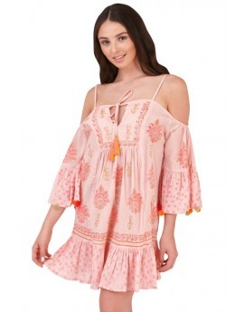 Boutique Pink Bardot Beach Dress