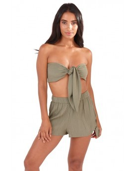 Khaki Tie Beach Co-ord Set