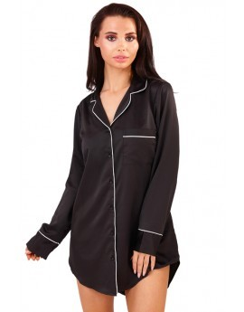 Loungeable Black Satin Night Shirt