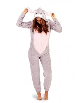 Loungeable Novelty 3D Pink & Grey Rabbit Onesie