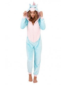 Aqua Unicorn Onesie With Pink Sherpa Detail