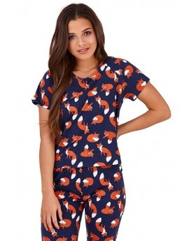 Navy Fox Printed Pyjama Set