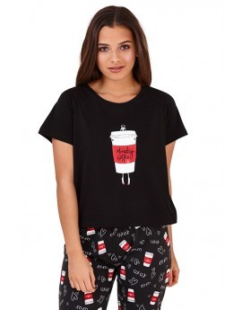Monday Coffee Slogan Print Pyjama Set