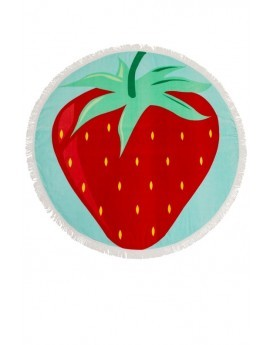 Strawberry Print Round Beach Towel