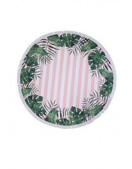 Stripe & Leaf Print Round Towel