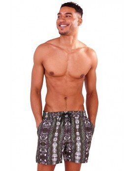 Recycled Khaki Snake Print Swim Shorts