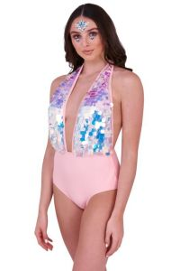 Electric Daisy Pink Sequinned Plunge Swimsuit