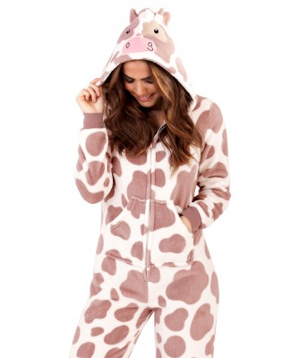 Loungeable Taupe & Cream Novelty Cow Print 3D Onesie