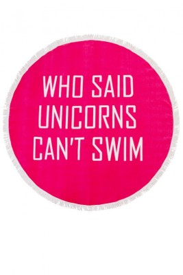 Pink Unicorn Slogan Round Beach Towel