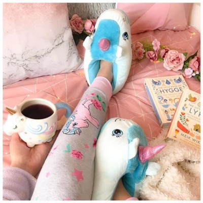 Novelty Blue Unicorn Slippers