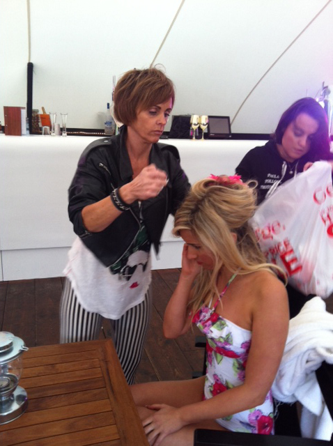 Model Sophie in the makeup chair